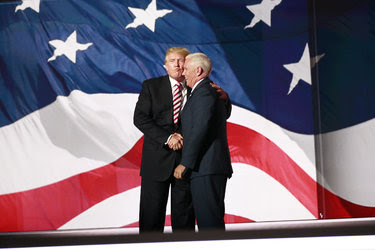 Donald J. Trump gave an air-kiss to his running mate, Gov. Mike Pence, after his speech on Wednesday.