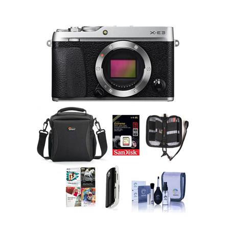X-E3 Mirrorless Camera Body, Silver - Bundle With Camera Case, 16GB SDHC U3 Card, Cleaning