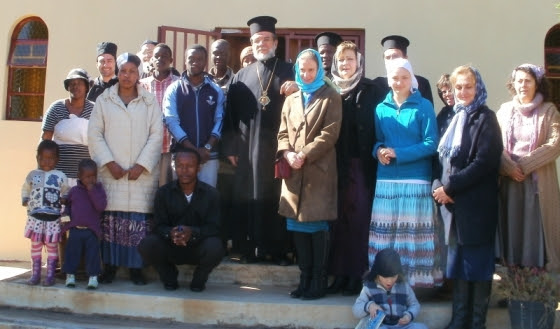 The congregation at St Demetrius on Pentecost Monday, 2014, with Archbishop Damaskinos