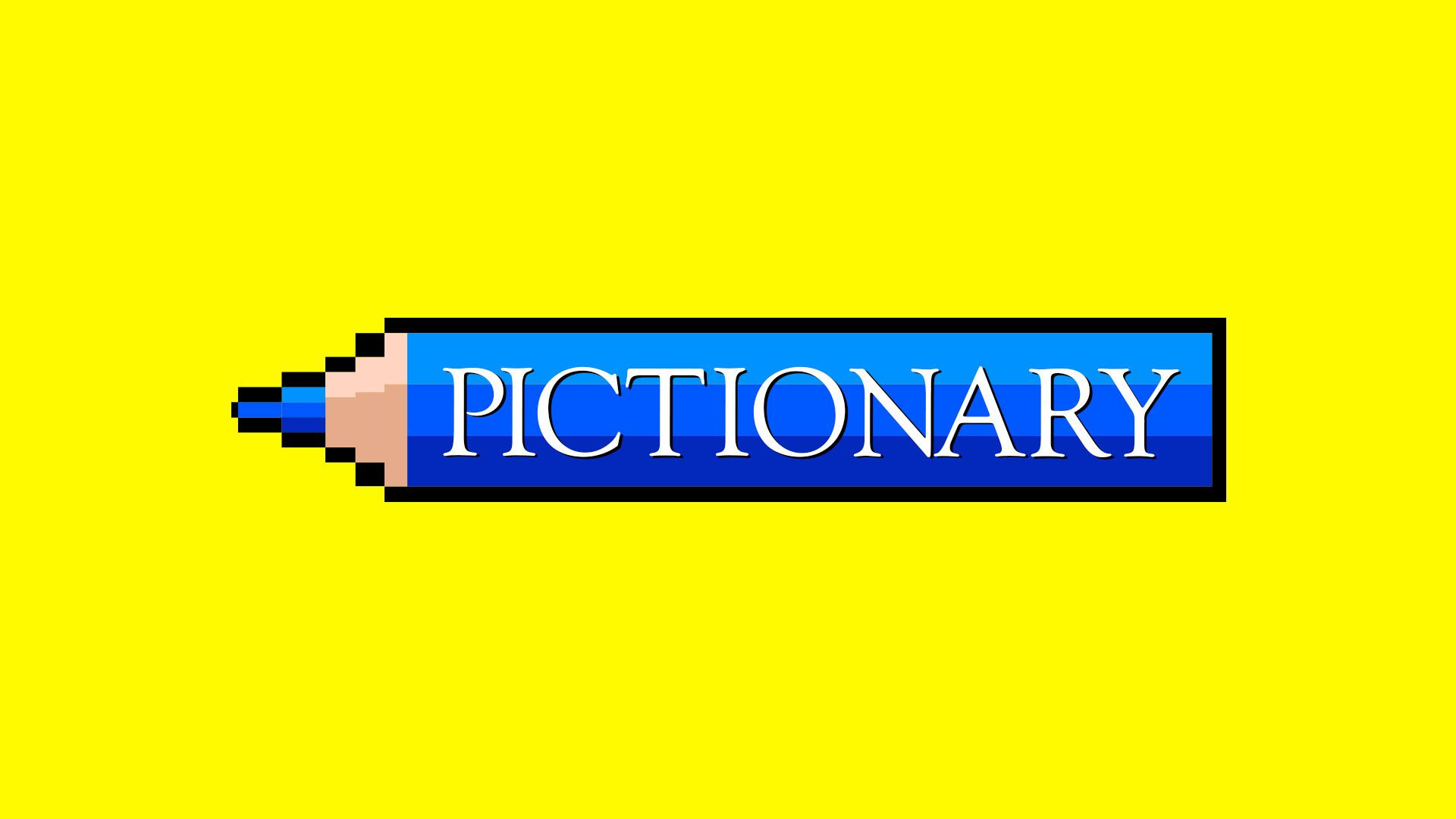 Illustration of the Pictionary logo on top of a pixel art style pencil.