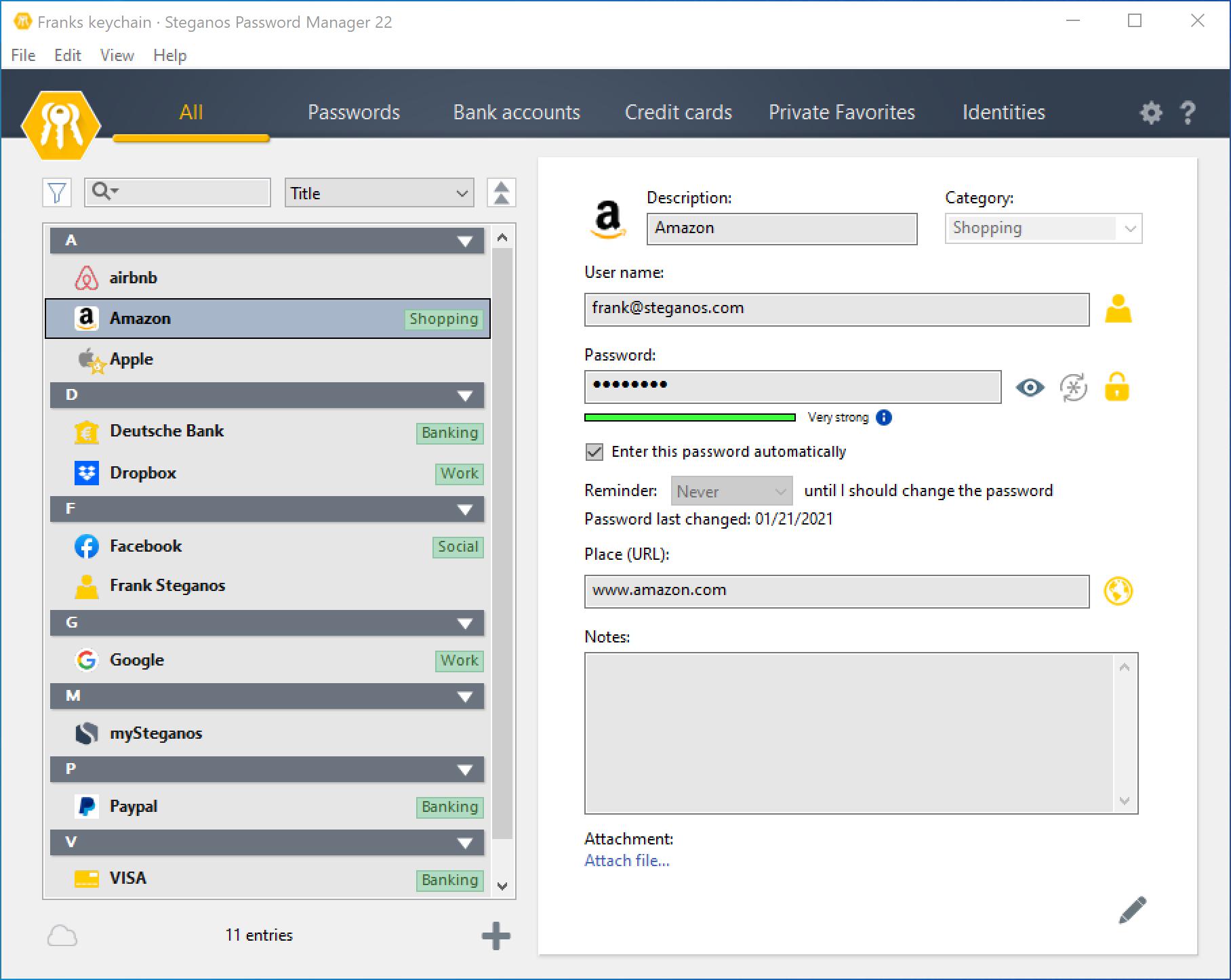 Steganos Password Manager 22 Screenshot