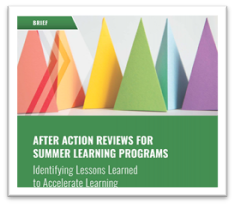 After Action Reviews for Summer Learning cover page