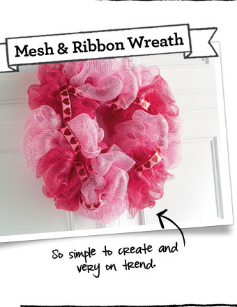 Mesh & Ribbon Wreath - So simple to create and very on trend.
