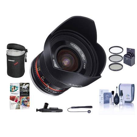 12mm f/2.0 NCS CS Manual Focus Lens Fuji X Mirrorless Cameras - Bundle With 67mm Filter Ki