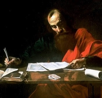 Saint Paul Writing His Epistles, attributed to Valentin de Boulogne, c. 1618-1620