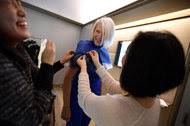 Maye Musk will be attending her first Met Gala on Monday with her son Elon. Here, she tries on her outfit.