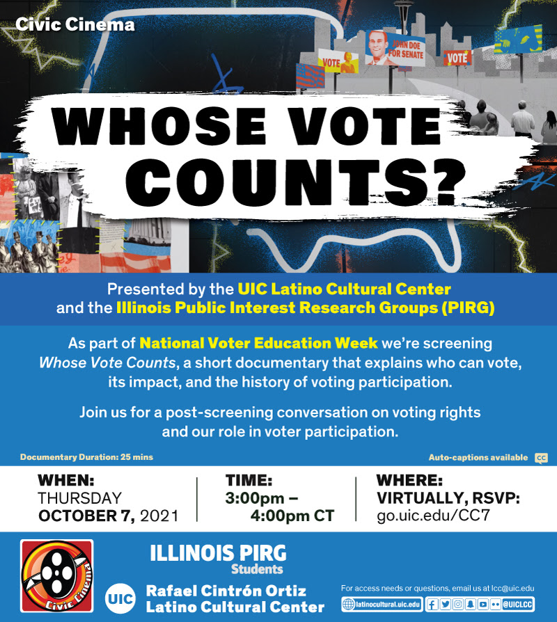 Flyer for Civic Cinema featuring Whose Vote Counts Documentary 10.7.2021