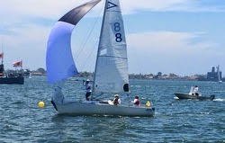 J/22 sailing match race in San Diego