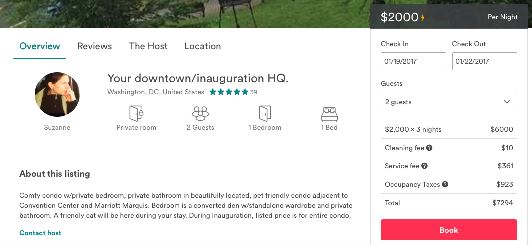 Screen capture from AirBnB