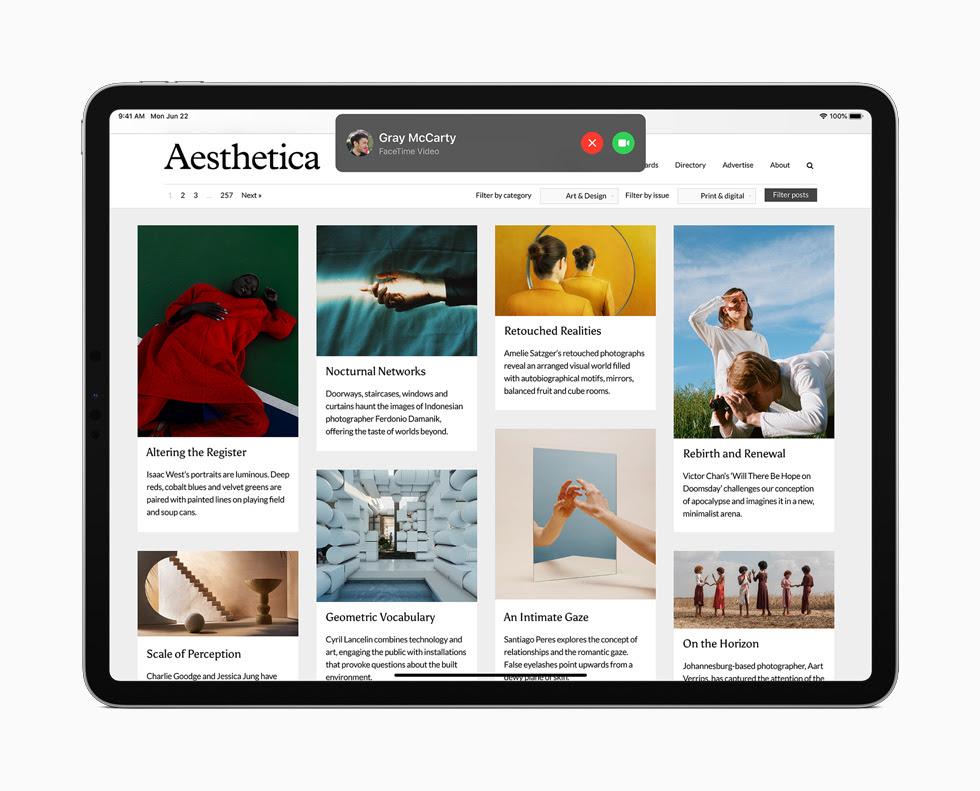 iPad Pro 顯示來電提示。