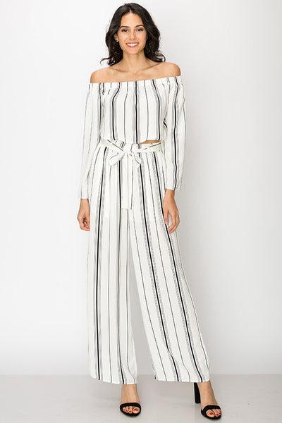 Striped wide leg high waist pants by Favlux