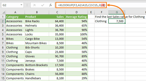 XLOOKUP last value