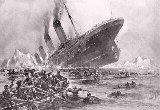 """Dibujo que reconstruye el hundimiento del """"Titanic"""" en Terranova"""