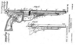 Karl Ehbets patent for a gas operated pistol from 1896.