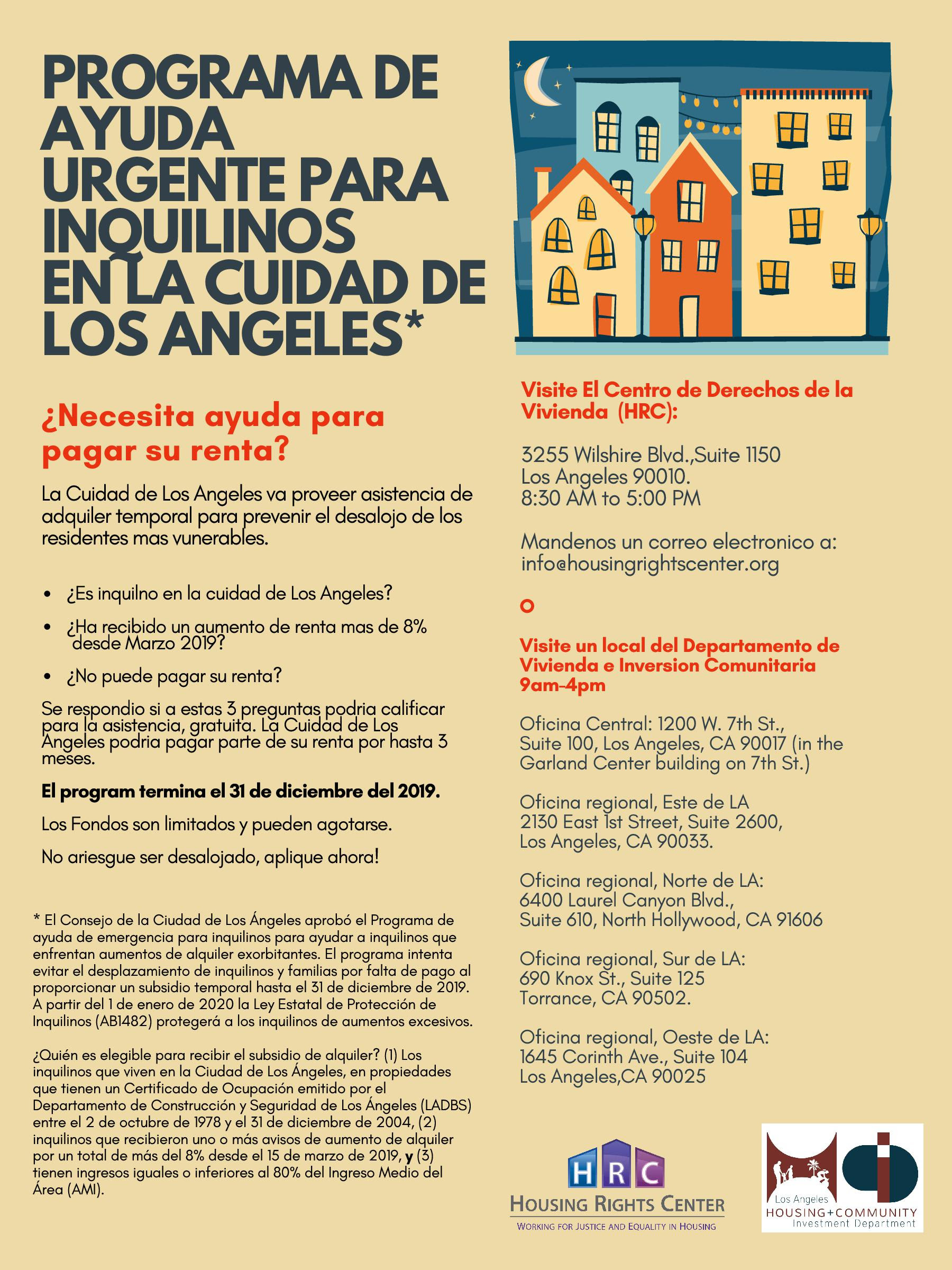 LA Renters Relief Program Spanish