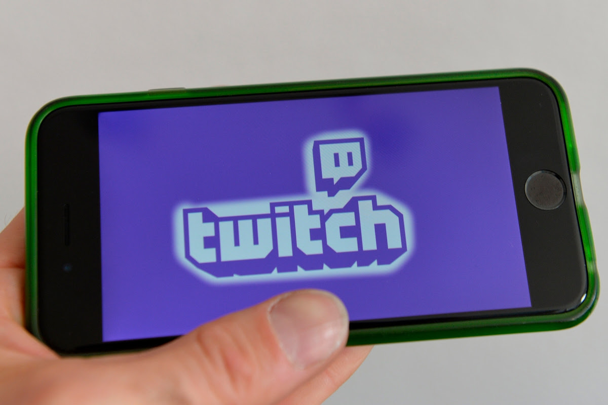 The Twitch logo on a smartphone screen