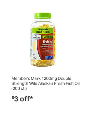 Member's Mark 1200mg Double Strength Wild Alaskan Fresh Fish Oil (200 ct.)