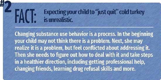Changing substance use behavior is a process. In the beginning your child may not think there is a problem. Next, she may realize it is a problem, but feel conflicted about addressing it. Then she needs to figure out how to deal with it and take steps in a healthier direction, including getting professional help, changing friends, learning drug refusal skills and more.