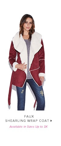 Shop FAUX SHEARLING WRAP COAT