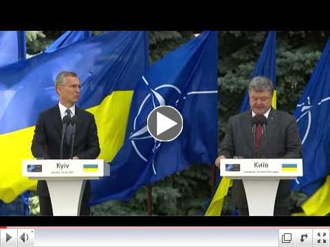 NATO Secretary General Jens Stoltenberg and Ukraine's President Petro Poroshenko hold press conference in Kyiv. To view video please click on above image