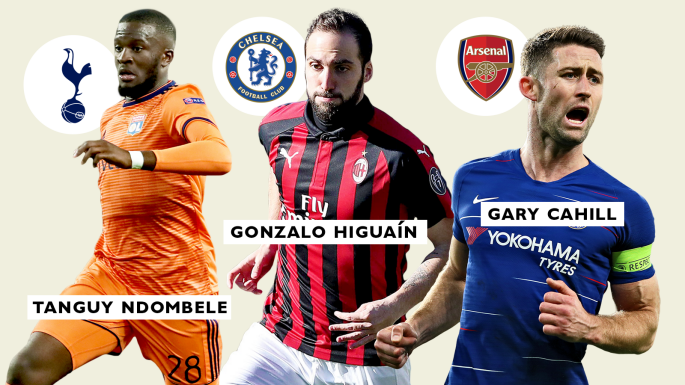 Ndombele, Higuaín and Cahill are all targets for Premier League clubs this month