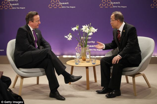 David Cameron held discussions with UN Secretary general Ban Ki Moon during the summit at the Hague