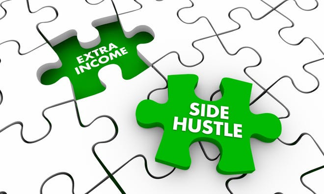 A white puzzle with one missing piece. The empty space reads ''Extra Income'' and the missing piece is green and says ''Side Hustle''