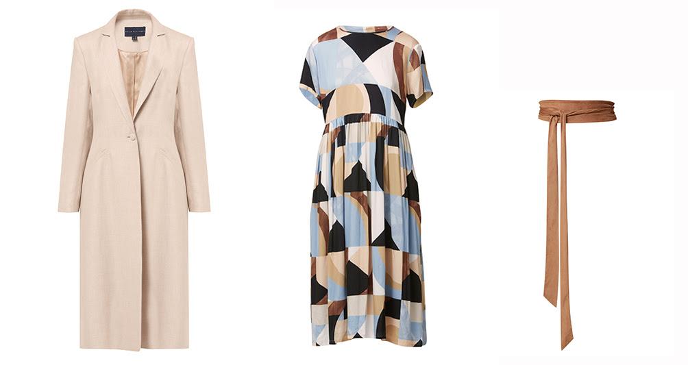 Louise geometric print dress and Obi belt. Ghost photos