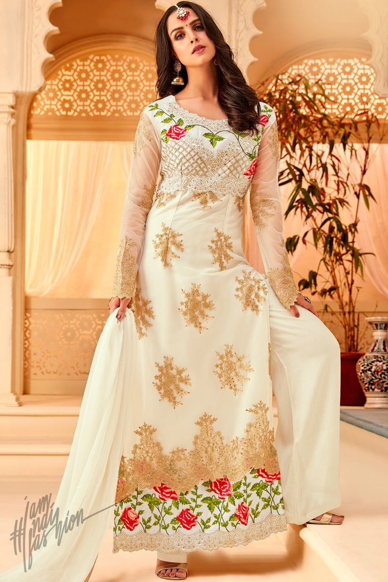 White Net Party Wear Palazzo Suit