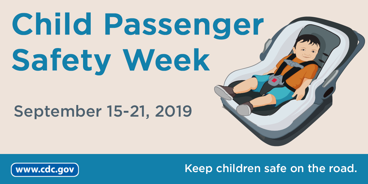 Graphic showing a baby in a rear facing car seat that reads