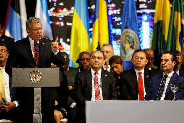 El presidente colombiano, Iván Duque, durante la ceremonia de apertura de la asamblea general de la OEA