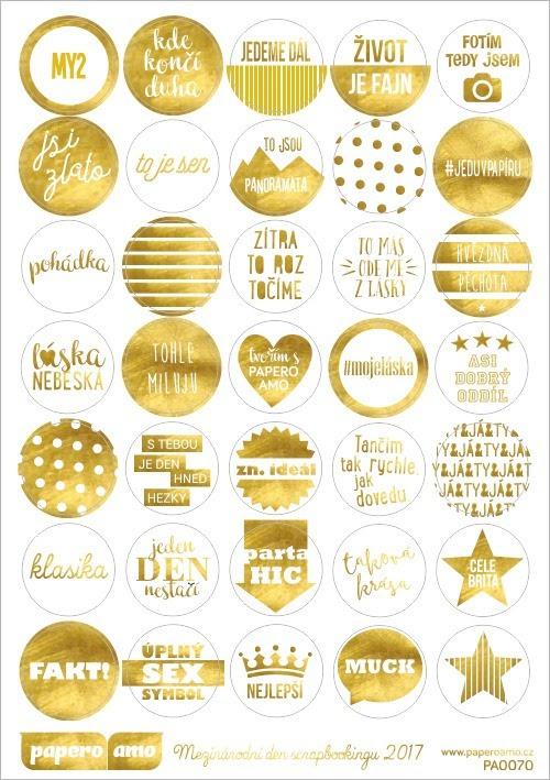 zlate samolepky grafika