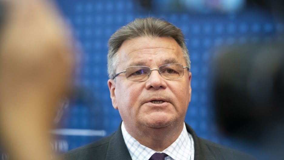 Lithuania's Minister of Foreign Affairs Linas Linkevicius answers questions during a meeting with the press in the Ministry of Foreign Affairs in Vilnius, Lithuania, Aug. 11, 2020.