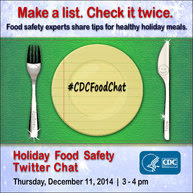 Holiday food safety Twitter chat, Dec. 11, 3 - 4 p.m.