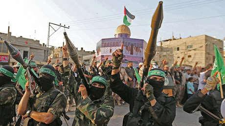 Miembros de Hamás protestan contra Israel, Khan Younis, Franja de Gaza, 20 de julio de 2017.
