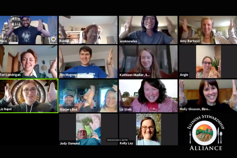 The virtual happy hour was so much fun!Photo of full zoom room with our staff and members giving each other a virtual high five with big smiles.