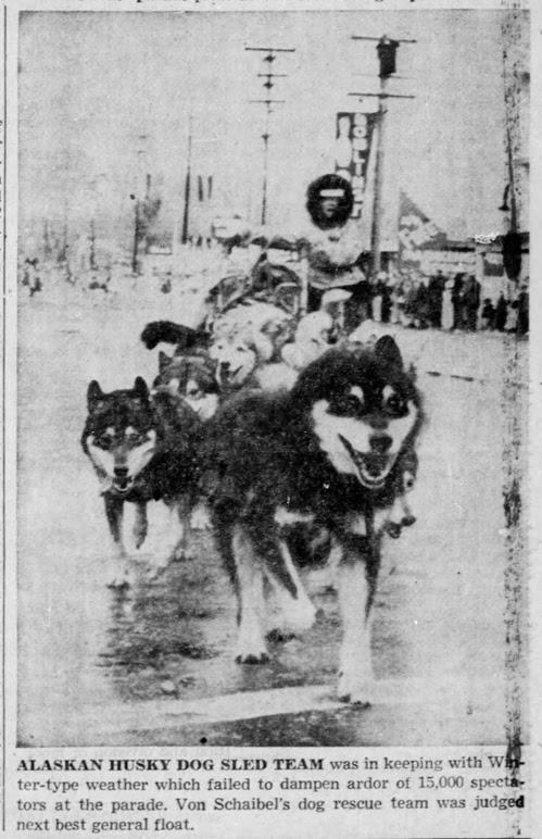 Elmer Von Schaibel with his dog sled team