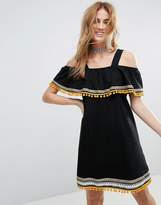 ASOS Cold Shoulder Sundress with Embroidery and Pom Poms