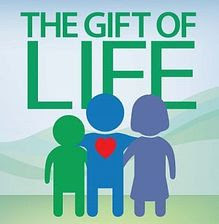 The gift of life. clipart image shows three stick figures, one with a heart showing