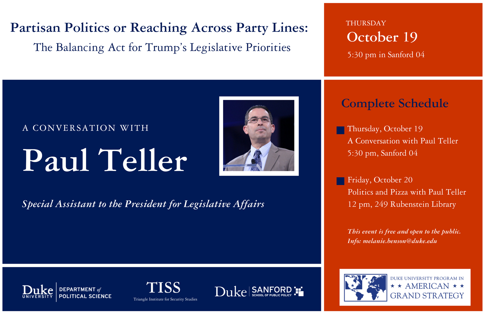 Partisan Politics or Reaching Across Party Lines - the Balancing Act for Trump's Legislative Priorities: A Conversation with Paul Teller @ Sanford School 04 | Durham | North Carolina | United States