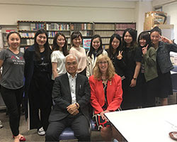 Jackie, in Japan with a university instructor and student group.