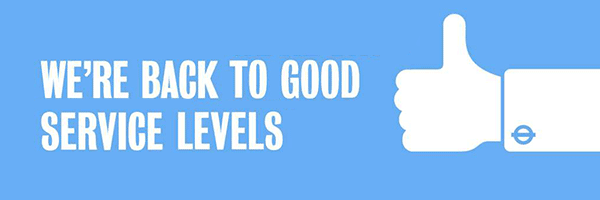 Banner - We're back to good service levels