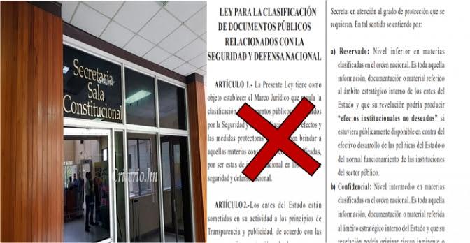 Pleno de la CSJ debe declarar inconstitucionalidad absoluta la Ley de Secretos Oficiales