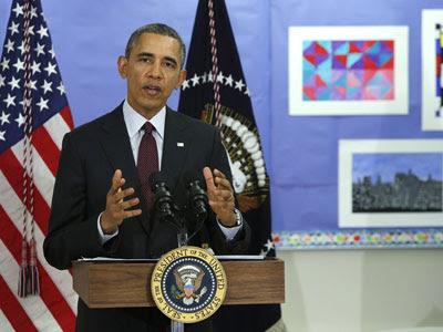 El presidente de EEUU. Barack Obama, durante la presentación de los presupuestos de 2015 en un colegio.