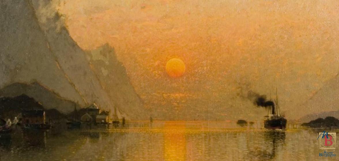 """A.Norman, """"Il sole a mezzanotte alle isole Lofoten"""", particolare"""