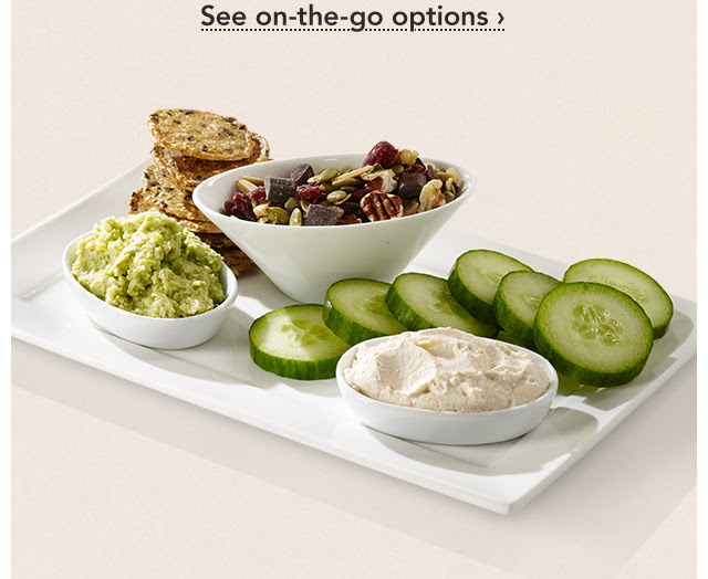 Grab And Go, Go, Go. Busy summer days call for our portable, great–tasting mini meals. The new wheat–free Omega–3 Bistro Box includes smoked Alaskan salmon cream cheese spread and edamame hummus. See on–the–go options.
