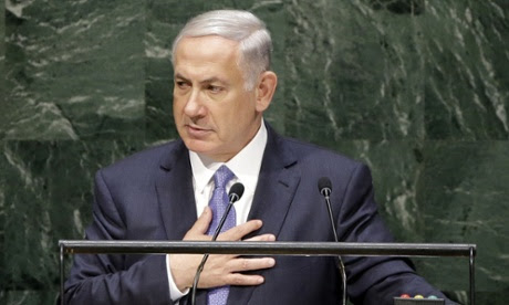 Netanyahu addresses the general assembly.