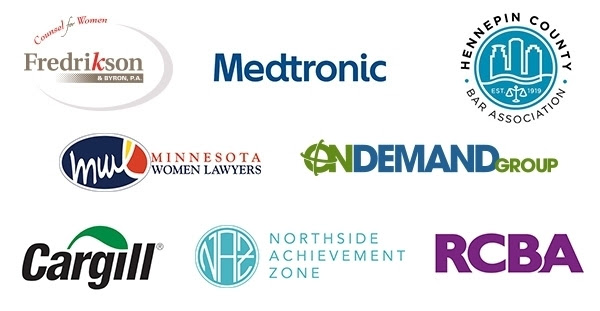 Logos for sponsors: Fredrikson & Byron Counsel for Women, Medtronic, Hennepin County Bar Association, Minnesota Women Lawyers, Ramsey County Bar Association, Cargill, Northside Achievement Zone and On Demand Group