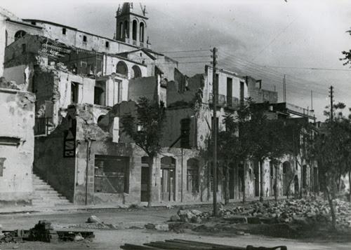 Efectes dels bombardejos a l'Hotel Trias, 1938. Autor desconegut. SAMP
