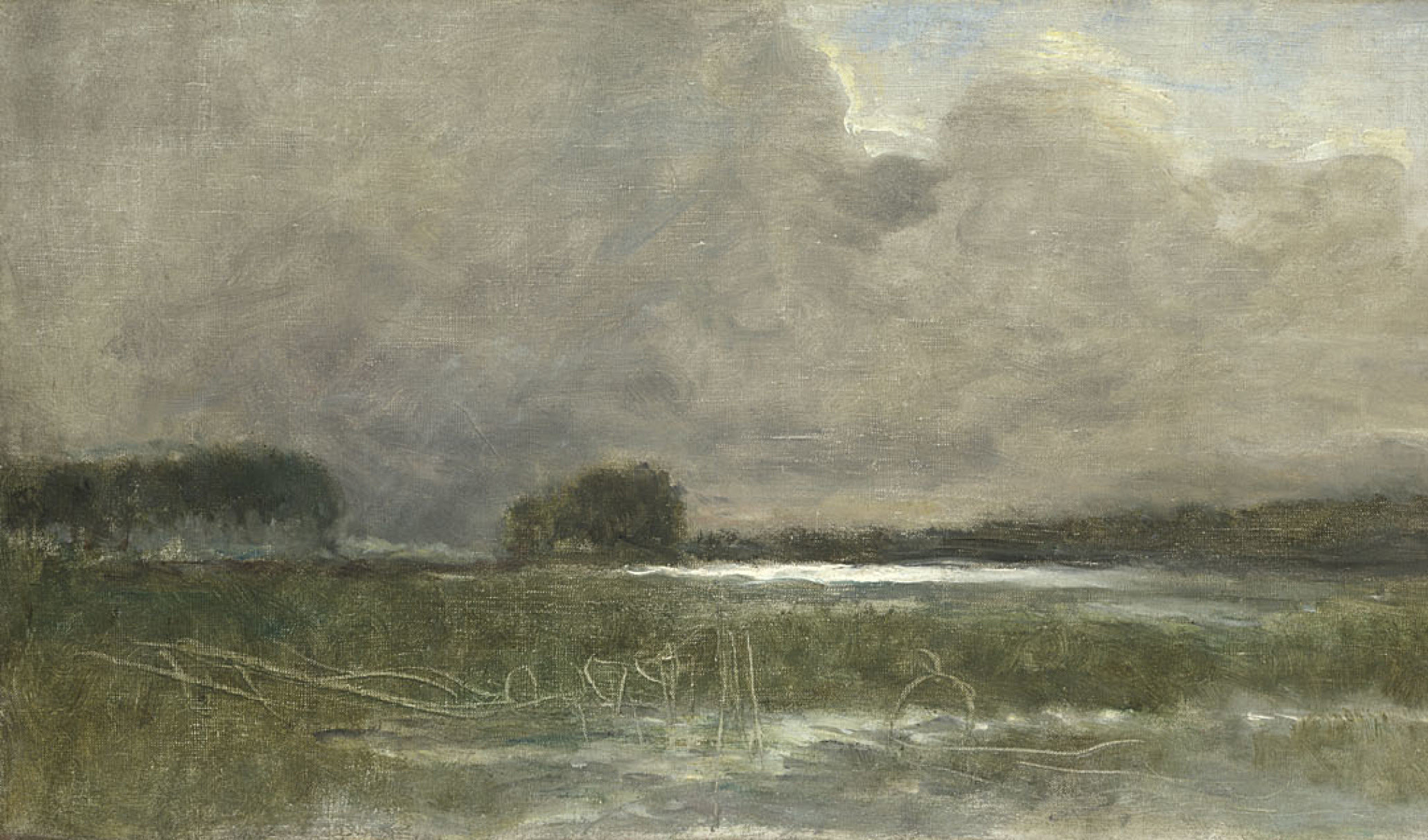 Detail from Jean-Baptiste-Camille Corot, 'The Marsh at Arleux', 1871 © The National Gallery, London